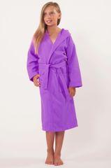 100% Turkish Cotton Kids Hooded Waffle Diamond Robe - Lavender - Kids (Age 7-10) - Large