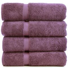 Luxury Hotel & Spa Towel 100% Genuine Turkish Cotton Bath Towels - Plum - Dobby Border - Set of 4