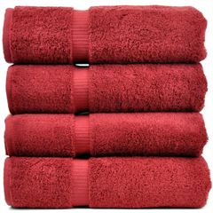 Luxury Hotel & Spa Towel 100% Genuine Turkish Cotton Bath Towels - Cranberry - Dobby Border - Set of 4