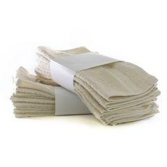 Eco Cotton Washcloths - Beige - Cam Border - Set of 24