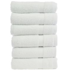 Luxury Hotel & Spa Towel 100% Genuine Turkish Cotton Hand Towels - White - Bamboo - Set of 6