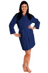 Tight Lenght Waffle Kimono Robe - Women - Navy Blue - Adult - One Size