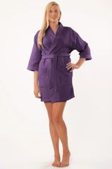 Tight Lenght Waffle Kimono Robe - Women - Purple - Adult - One Size