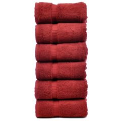 Luxury Hotel & Spa Towel 100% Genuine Turkish Cotton Hand Towels -Cranberry-Dobby Border- Set of 6