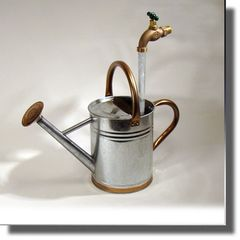 Galvanized with Copper Watering Can Floating Faucet Fountain