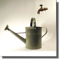 Sage Green Floating Faucet Watering Can Fountain