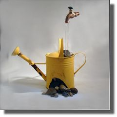 Rusted Old Yellow Watering Can, Impossible Fountain