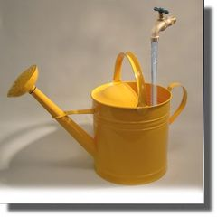 Large Yellow Floating Faucet Galvanized Watering Can Fountain