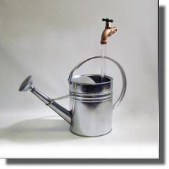 Loop Handle Galvanized Watering Can Faux Flow Fountain