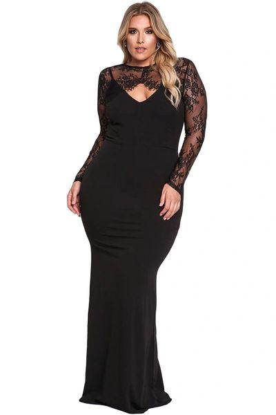 Black Lace Plus Size Evening Dress Clothes Divas