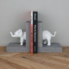 Elephant Bookends- White