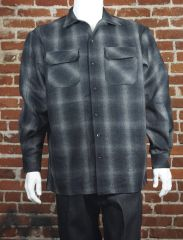 FB County Men's Super Heavyweight Wool Blend Long Sleeve Shirt Black/Grey