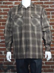FB County Men's Super Heavyweight Wool Blend Long Sleeve Shirt Brown/Tan