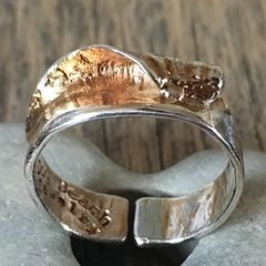 Secret Spot Wave Ring in Distressed Silver Plate (Large)