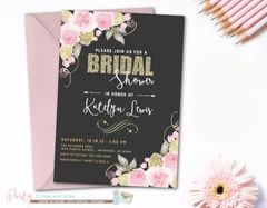 Bridal Shower Invitation, Blush Bridal Shower Invitation, Floral Bridal Shower Invitation, Watercolor Bridal Shower Invitation