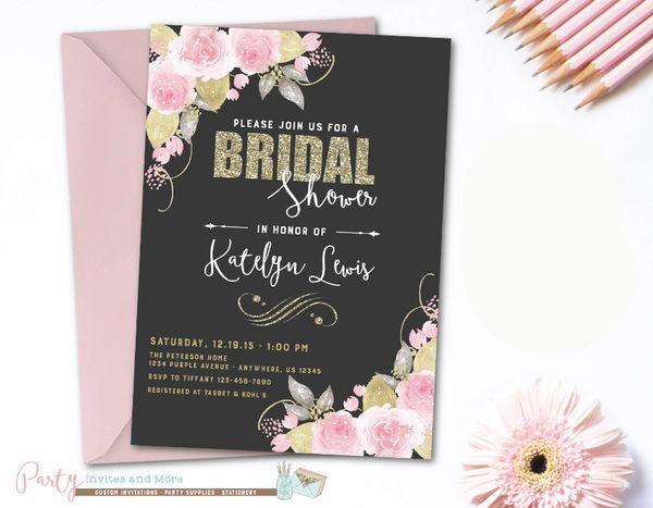 bridal shower invitation blush bridal shower invitation floral bridal shower invitation watercolor bridal shower invitation