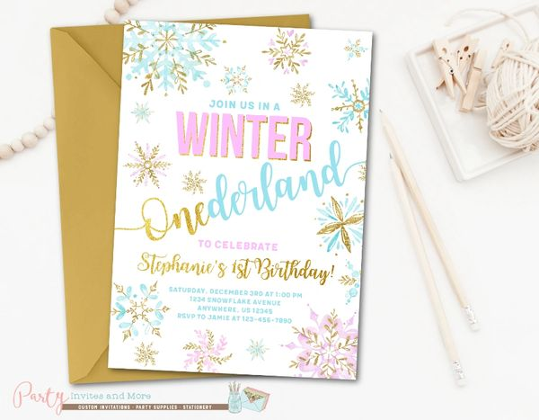 Winter Birthday Invitation Onederland Birthday Invitation Party