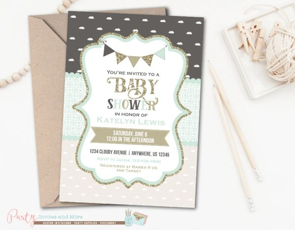 Gray Mint And Gold Baby Shower Invitation Glitter Baby Shower