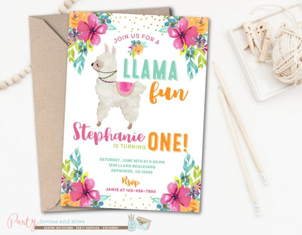 Llama Birthday Party Invitation for a Girl