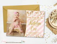 Pink and Gold Birthday Invitation, Twinkle Twinkle Little Star, Gold Foil, Stars Birthday Invitation, Stars, Gold, Glam, First Birthday