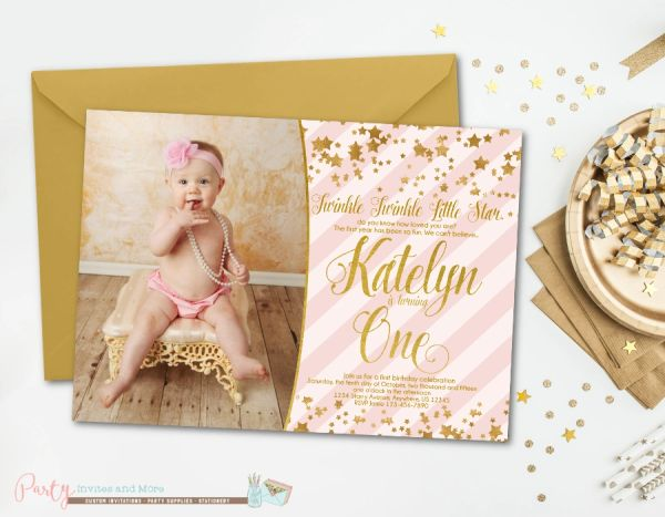 Pink And Gold Birthday Invitation Twinkle Little Star