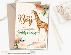 Giraffe Boy Invitation, Giraffe Baby Shower Invitation, Boy Baby Shower Invitation, Boy Giraffe Baby Shower Invitation, Giraffe Baby Shower