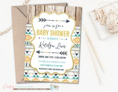 Tribal Baby Shower Invitation, Gold and Blue