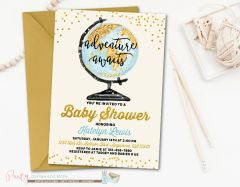 Adventure Awaits World Map Baby Shower Invitation