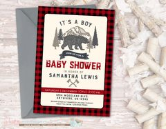 Woodland Baby Shower Invitation, Woodland Baby Shower, Woodland Invitation, Lumberjack Baby Shower, Bears, Buffalo Plaid Invitation