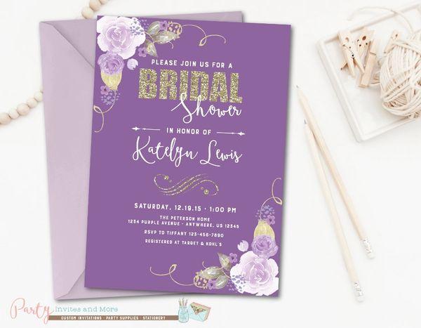 bridal shower invitation purple bridal shower invitation floral bridal shower invitation watercolor bridal shower invitation glam