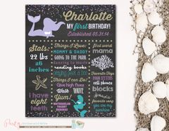Mermaid Chalkboard Poster, First Birthday Chalkboard Poster, Birthday Milestone Chalkboard