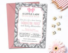 Little Lady Baby Shower Invitation, Damask Baby Shower Invitation, Quatrefoil Baby Shower, Pink and Gray Baby Shower