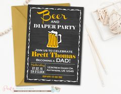 Beer and Diaper Party Invitation, Beer and Diaper Baby Shower, Dad Baby Shower, Beer and Diapers, Chalkboard Baby Shower Invitation