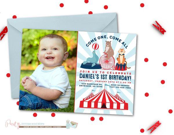 Circus Photo Birthday Invitation Carnival