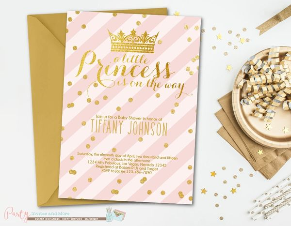 Pink and gold baby shower invitation princess baby shower party pink and gold baby shower invitation princess baby shower invitation girl baby shower invitation glam blush pink and gold invitation filmwisefo