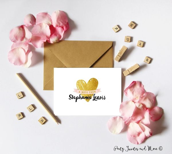 Personalized Note Card Personalized Stationery Personalized Stationary A7 Note Cards Gold Hearts Pink And Gold Gift Notecards