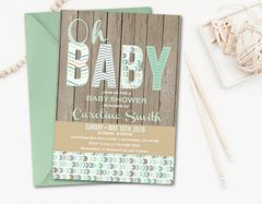Rustic Baby Shower Invitation, Mint Baby Shower Inivtation, Baby Boy Shower Invitation, Wood Invitation, Rustic, Baby Boy, Mint, Grey, Brown