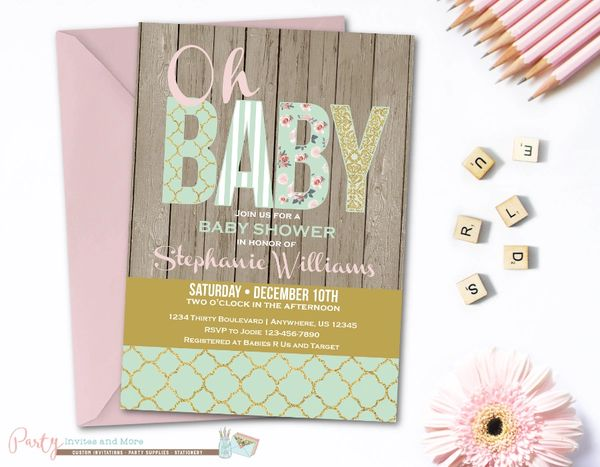 Shabby Chic Baby Shower Invitation Mint And Gold Baby Shower