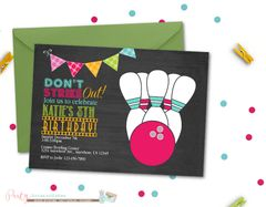 Bowling Birthday Invitation, Bowling Birthday Party, Chalkboard Bowling Invitation, Bright Invitation, Rainbow Bowling Invitation, Cosmic