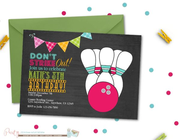 Bowling Birthday Invitation Party Chalkboard