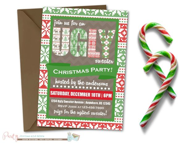 Ugly Sweater Invitation Ugly Sweater Christmas Party Invitation
