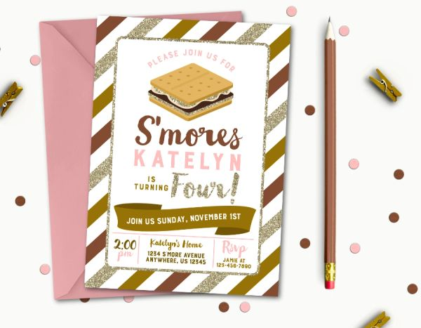 Smore Birthday Invitation Party Smores Pink And Brown Gold Glitter Camping Bonfire