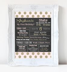 First Birthday Chalkboard Poster, First Birthday Milestone Chalkboard, Pink and Gold Chalkboard Poster, Glitter Chalkboard Poster, Blush