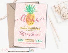 Aloha Luau Hawaiian Bridal Shower Invitation with Pineapples