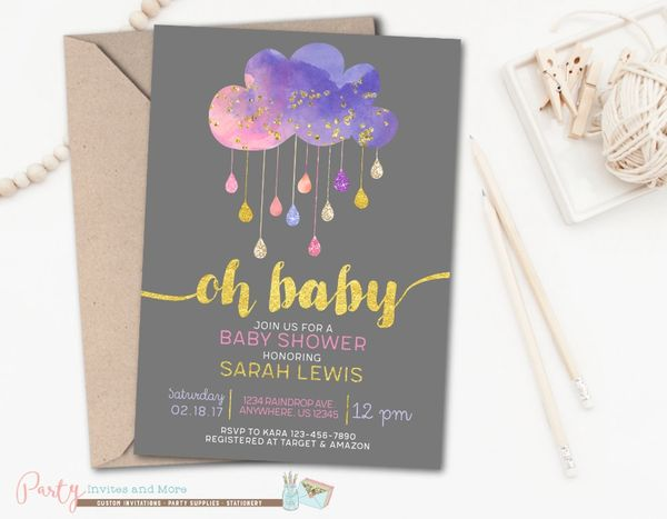 Rain cloud baby shower invitation pink and purple baby shower rain cloud baby shower invitation sprinkle baby shower invitation pink and purple baby shower invitation girl baby shower invitation filmwisefo