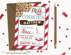 Milk and Cookies Birthday Invitation, Cookies and Milk, Birthday Invitation, Printable Invitation, Cookies Birthday Invitation