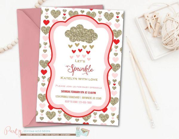 Baby Sprinkle Invitation Valentine Baby Sprinkle Party Invites