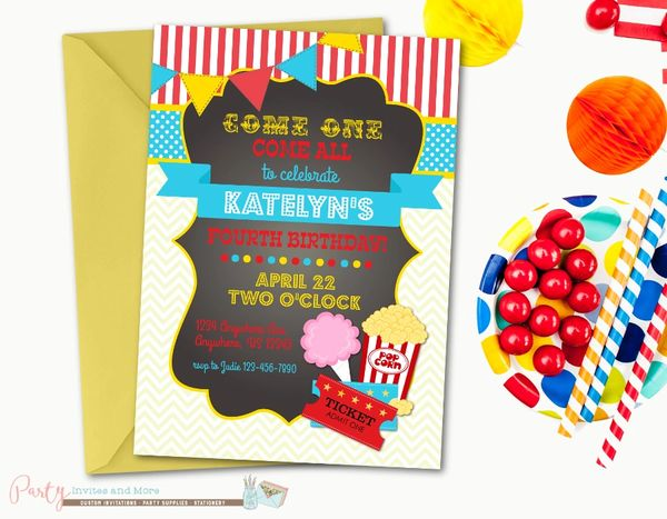 Carnival Birthday Invitation Circus Chalkboard Cotton Candy