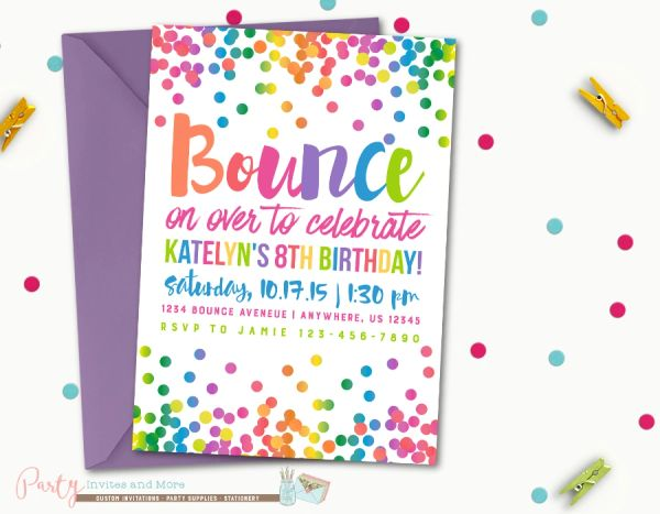 Jump Birthday Invitation Bounce Rainbow