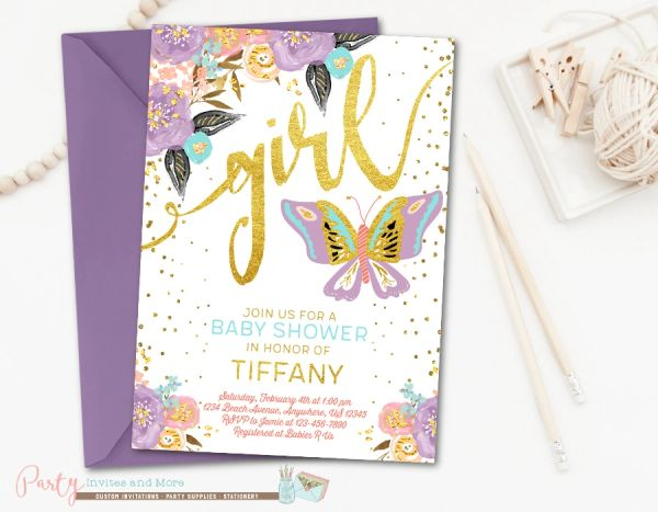 Butterfly Invitation Butterfly Baby Shower Invitation Party